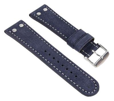 Uhrenarmband Leder 20mm Blau Herzog Wasserbüffel 19118S