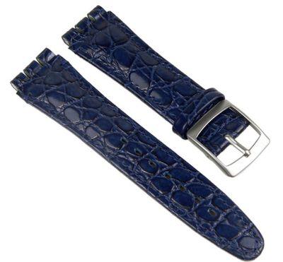 Minott Ersatzband Uhrenarmband Leder Band Dunkelblau passend zu Swatch Uhren 19mm 19932S – Bild 1
