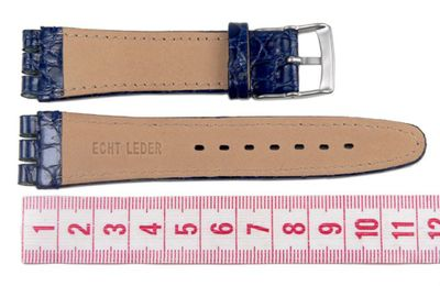 Minott Ersatzband Uhrenarmband Leder Band Dunkelblau passend zu Swatch Uhren 19mm 19932S – Bild 3