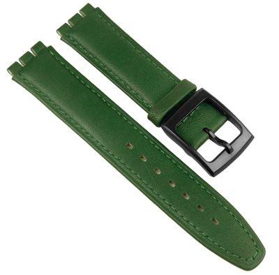 Minott Ersatzband 17mm   Leder grün   Anstoß passend zu Swatch Uhren