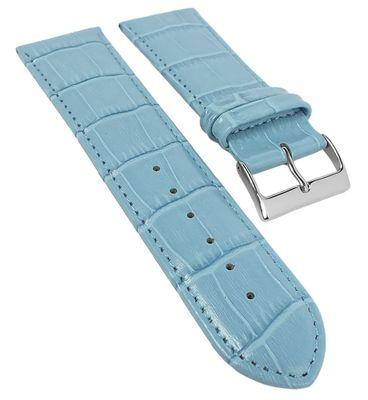 Herzog Uhrenarmband Leder | Alligatorprägung | gepolstert Hellblau 20322S – Bild 1