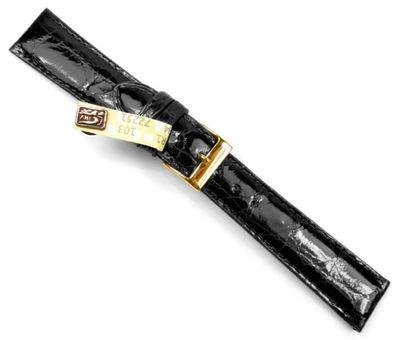 Echt Krokodil Uhrenarmband | Krokoleder, schwarz, glänzend 20790G – Bild 1