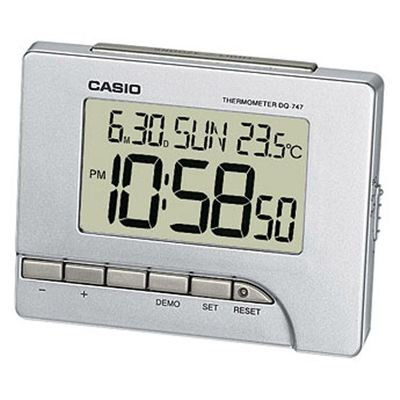 Casio Digital Wecker mit Thermometer Silberfarben DQ-747-8EF