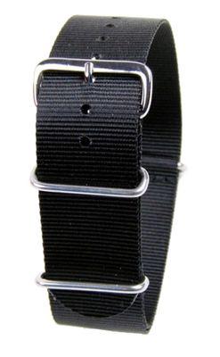 Nato-Band 18mm 20mm 22mm 24mm | Outdoor Textil Durchzugsband schwarz – Bild 1