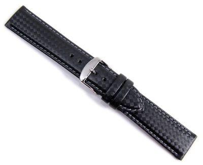 Carbon Sport Ersatzband Uhrenarmband Eco Leder schwarz/Grau Wasserfest 20939S – Bild 1
