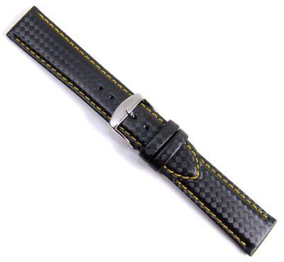 Carbon Sport Ersatzband Uhrenarmband Eco Leder schwarz/Gelb Wasserfest 20940S – Bild 1