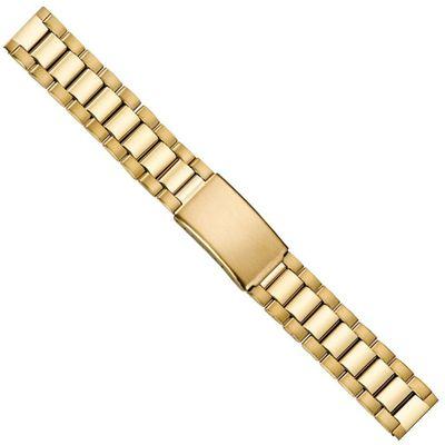 Ersatzband Uhrenarmband Edelstahl Band 18mm PVD-Gelbgold 21220