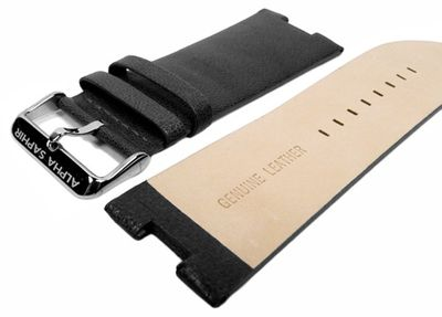 Alpha Saphir Ersatzband Uhrenarmband Leder Band schwarz für AS 298A und AS 298B – Bild 3