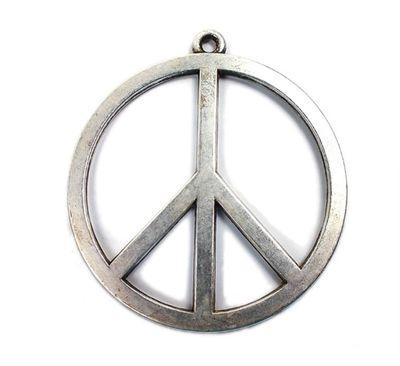 Minott Kette schwarzes Lederband zum verknoten mit Anhänger Peace Zeichen  21340 – Bild 2
