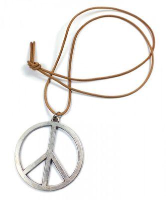 Minott Kette braunes Lederband zum verknoten mit Anhänger Peace Zeichen 21365