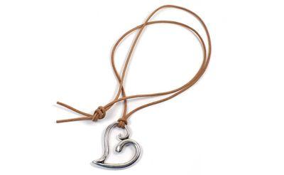 Minott Kette braunes Lederband zum verknoten mit Herz Anhänger 21368 – Bild 1