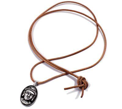 Minott Kette braunes Lederband zum verknoten mit Kleiner Buddha Anhänger 21376