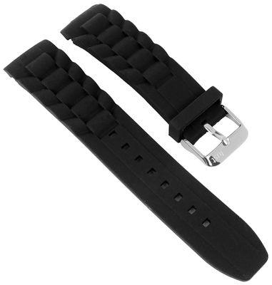 Minott Uhrenarmband Silikon schwarz 22mm passend für Watch 21407 – Bild 1
