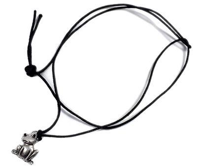 Minott Kette schwarzes Lederband zum verknoten mit Frosch Anhänger 21446 – Bild 1