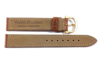 Maurice Lacroix Uhrarmband   echt Eidechsen Leder braun glänzend 21550G – Bild 3