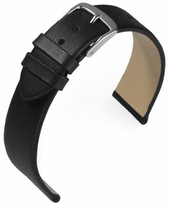 EULIT Uhrenarmband | Nappaleder, schwarz ohne Naht | Dornschließe S