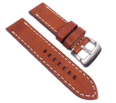 Aeronautica Vintage Ersatzband Uhrenarmband Fliegerband Optik Leder Hellbraun 24mm – Bild 1