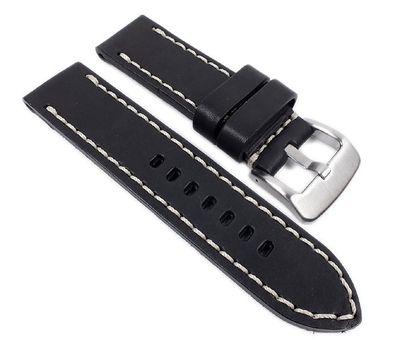 Aeronautica Ersatzband Uhrenarmband Fliegerband Optik Leder schwarz 26mm – Bild 1
