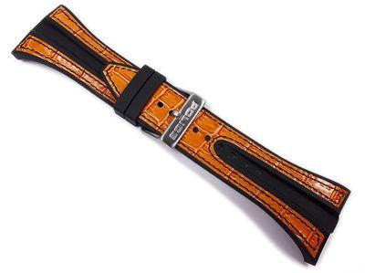 Police Axis Ersatzband Uhrenarmband Leder Band schwarz/Orange für PL10971JS-17 – Bild 2