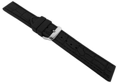 Eulit Silichron | Uhrenarmband | Silikon, schwarz/schwarze Naht 21902 – Bild 2