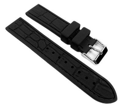 Eulit Silichron | Uhrenarmband | Silikon, schwarz/schwarze Naht 21902 – Bild 1