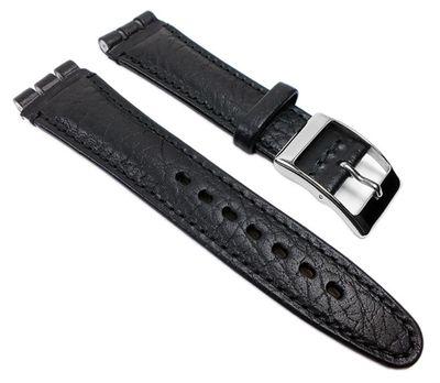 Minott Swiss Ersatzband Uhrenarmband Leder Band schwarz genarbt, 19mm für Swatch Uhren – Bild 1