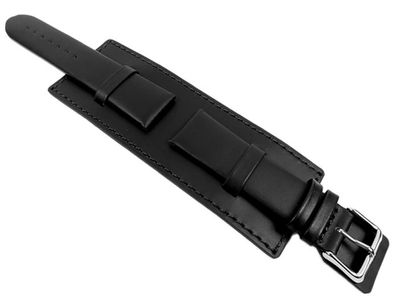 Uhrenarmband mit Unterlage Kalbsleder schwarz Minott 22028S – Bild 2