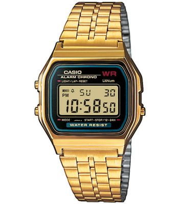 Casio Collection Retro Armbanduhr Digital Quarz Uhr Edelstahl IP Gelbgold A159WGEA-1EF