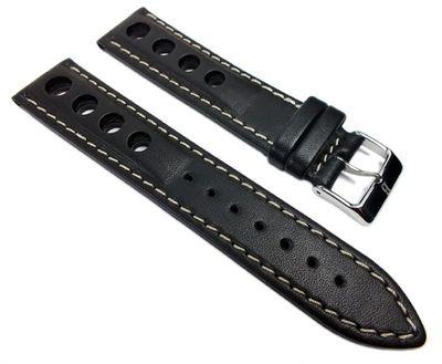 Racing Ersatzband Uhrenarmband Rindsleder Band mit Lochmuster schwarz 22200S – Bild 1