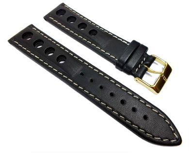 Racing Ersatzband Uhrenarmband Rindsleder Band mit Lochmuster schwarz 22201G – Bild 1