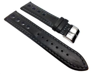 Minott Racing Ersatzband Uhrenarmband Rindsleder Band mit Lochmuster schwarz/Grau 22205S – Bild 1