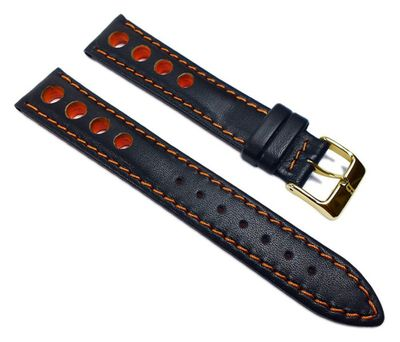 Racing Uhrenarmband Rindsleder mit Lochmuster schwarz/Orange 22208G – Bild 1