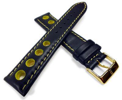 Barington Racing Uhrenarmband Leder mit Lochmuster schwarz/gelb 22210G – Bild 2