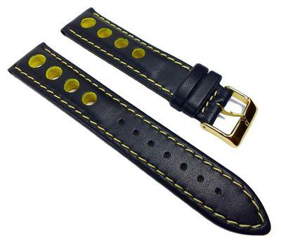 Barington Racing Uhrenarmband Leder mit Lochmuster schwarz/gelb 22210G – Bild 1