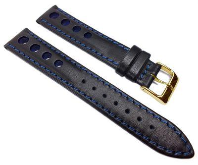 Racing Ersatzband Uhrenarmband Rindsleder Band mit Lochmuster schwarz/Blau 22214G – Bild 1