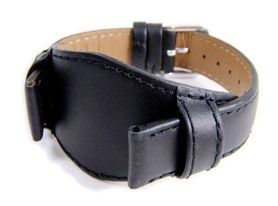 Uhrenarmband Leder mit Unterlage Kalbsleder schwarz Ton in Ton 22285S – Bild 1