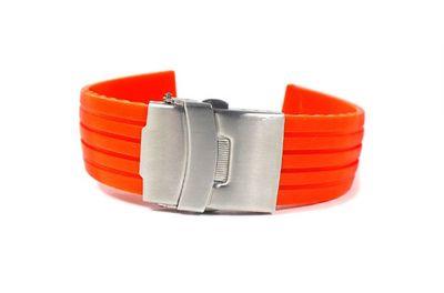 Uhrenarmband Silikon Neon Orange Minott Rubber 22443S – Bild 1