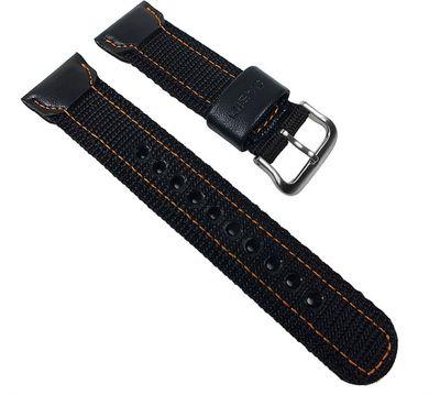 Casio Ersatzband Uhrenarmband Textil / Leder Band schwarz für AMW-103B-1 AMW-103B AMW-103