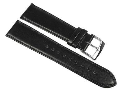 Uhrenarmband Leder Handgearbeitet | Kalbnappa weich schwarz Miami 22545S – Bild 1