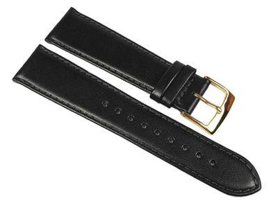 Uhrenarmband Leder Handgearbeitet | Kalbnappa weich schwarz Miami 22546G – Bild 1