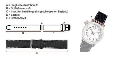 Uhrenarmband Leder Handgearbeitet | Kalbnappa weich schwarz Miami 22546G – Bild 3