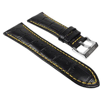 Festina Ersatzband Uhrenarmband Leder 28mm schwarz / Gelb F16235/7 F16234 F16294