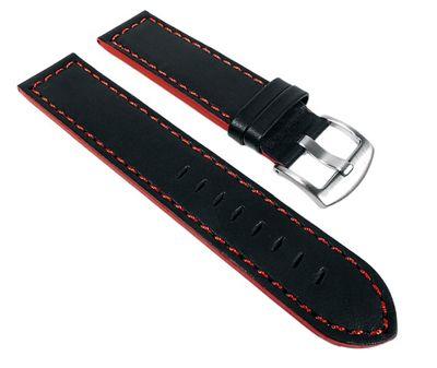 Sportina Ersatzband Uhrenarmband Kalbsleder schwarz / Rot 22675S passend zu Festina