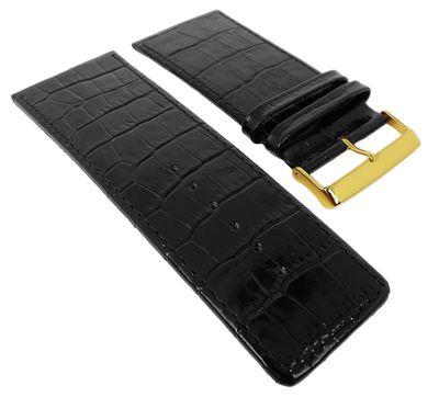 Uhrenarmband X-tra Breit | Kroko-Print Leder 30-40mm schwarz, glänzend – Bild 1