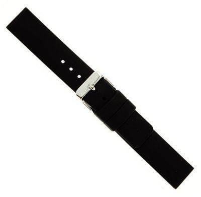 Eulit Silikon Ersatzband Uhrenarmband Wasserfest schwarz 18 mm 22832S