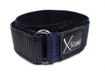 Uhrenarmband Textil schwarz/Blau 18mm 19mm 20mm Klettverschluss 22868