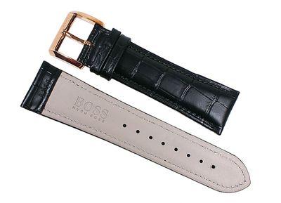 Hugo Boss Uhrenarmband Leder in Kroko-Optik schwarz 22mm für 1512655 – Bild 2