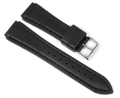 Minott Uhrenarmband Silikon | Band Schwarz mit Naht und Einschnitt 23193 – Bild 1