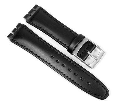 Minott Uhrenarmband Leder schwarz passend zu Swatch 19mm 23295S