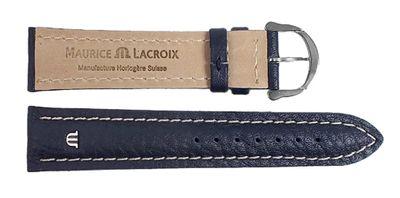 Maurice Lacroix Ersatzband Uhrarmband Leder Band Tiago Waterproof Dunkelblau / Naht hell 20mm 23403S – Bild 2
